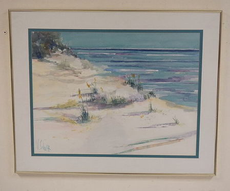 N. SCHULTZ WATERCOLOR PAINTING OF A SHORE SCENE. 28 X 21 INCHES.