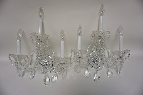 PAIR OF FINELY CUT CRYSTAL SCONES. EACH WITH 3 LIGHTS, CUT BEAD SWAG, AND CUT GL