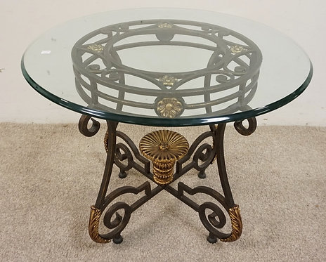 """IRON AND GLASS TOP ROUND OCCASIONAL TABLE. 27"""" DIAMETER X 22"""" HIGH."""
