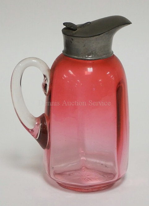 CRANBERRY GLASS SYRUP JUG. CONSOLIDATED #94, AKA VENECIA PATTERN. PEWTER LID. 6
