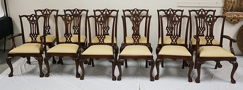 SET OF 12 CHIPPENDALE STYLE CARVED DINING CHAIRS WITH 2 ARMCHAIRS AND 10 SIDE CH