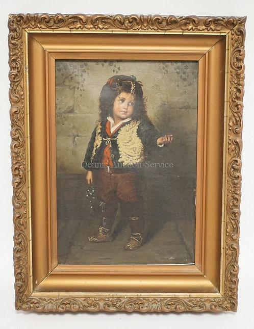 ANTIQUE ITALIAN OIL PAINTING ON CANVAS OF A CHILD WITH LONG HAIR. 6 3/4 X 9 3/4