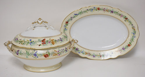 FRENCH PORCELAIN TUREEN AND PLATTER. MARKED *D'VION ET BAURY*. 15 INCH TUREEN. 1