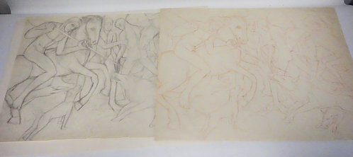 MORIZ MELZER (1877-1966) LOT OF 2 SKETCHES/STUDIES OF MEN ON HORSEBACK ATTACKING