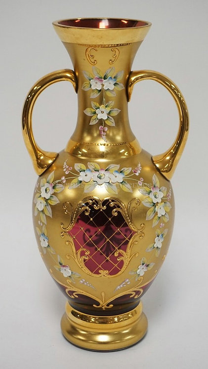 BOHEMIAN CRANBERRY ART GLASS VASE WITH GOLD DECORATION ALONG WITH THICK ENAMELED