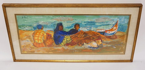 SERGE DELAVEAU GOUACHE PAINTING OF 3 MEN ON A BEACH NEAR A ROWBOAT. SIGNED LOWER