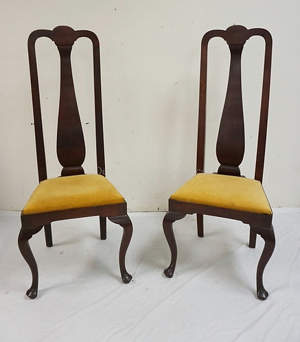 PAIR OF HIGH BACK MAHOGANY CHAIRS WITH CABRIOLE LEGS. 53 3/4 INCHES HIGH.