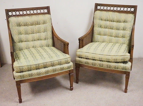 PAIR OF STATESVILLE REGENCY STYLE ARMCHAIRS WITH CANED SIDES,