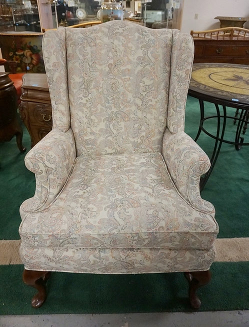 QUEEN ANNE STYLE WING CHAIR WITH PAISLEY UPHOLSTERY. 31 IN WIDE, 43 1/2 IN H