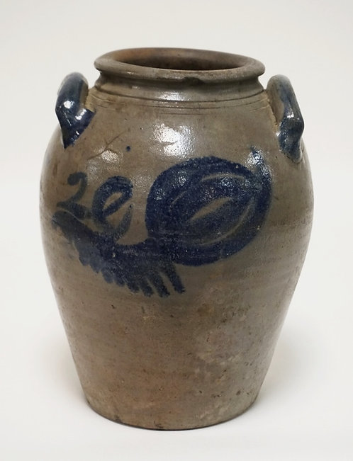 VIRGINIA STONEWARE CROCK. OVOID WITH BLUE DECORATION ON THE FRONT, BACKM AND HAN