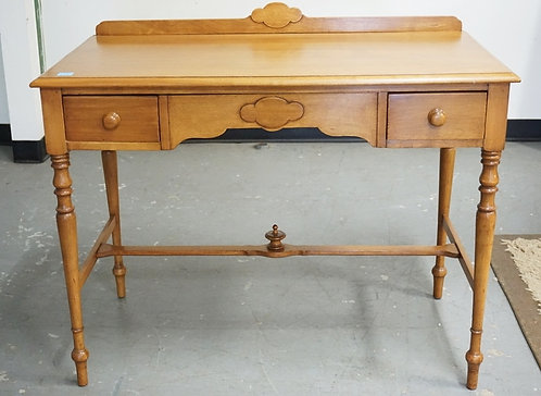 2 DRAWER DESK WITH BACKSPLASH. TURNED LEGS. 39 1/2 INCHES WIDE. 30 1/4 INCHES HI