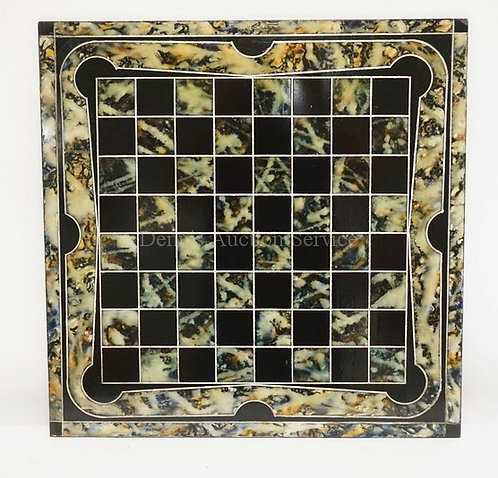 SLATE CHESS/CHECKERBOARD WITH A MARBLED AND BLACK SURFACE. 22 INCHES SQUARE.
