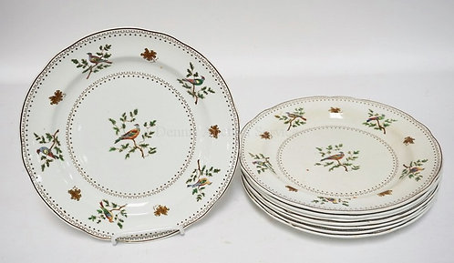 SET OF 8 COPELAND SPODE PLATES DECORATED WITH FLOWERS AND BIRDS. SOME CRAZING AN