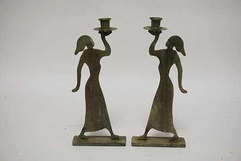 PAIR OF CUT STEEL SILHOUETTE STYLE FIGURES OF WOMEN HOLDING UP CANDLE CUPS. 12 1