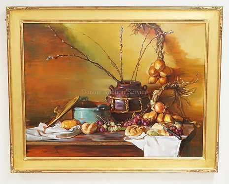 ELIZABETH TORAK LARGE & COLORFUL STILL LIFE OIL PAINTING ON CANVAS OF ASSORTED F