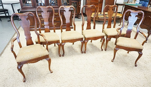 SET OF 6 THOMASVILLE DINING CHAIRS. 2 ARM AND 4 SIDE