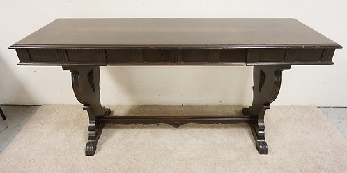 CARVED SOFA TABLE WITH PULL OUT DESK SECTION. 66 IN X 22 IN, 31 1/2 IN H