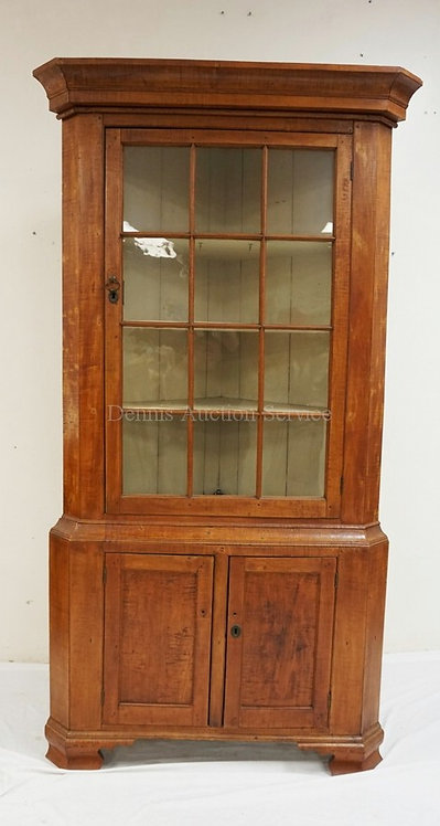 ANTIQUE 2 PIECE TIGER MAPLE CORNER CABINET WITH 12 INDIVIDUAL LIGHTS. 42 1/2 INC