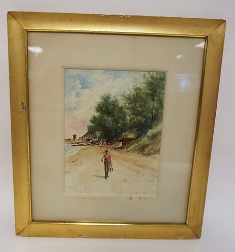 EXCEPTIONAL WATERCOLOR PAINTING OF A MAN WITH A FISHING POLE WALKING ON THE SHOR