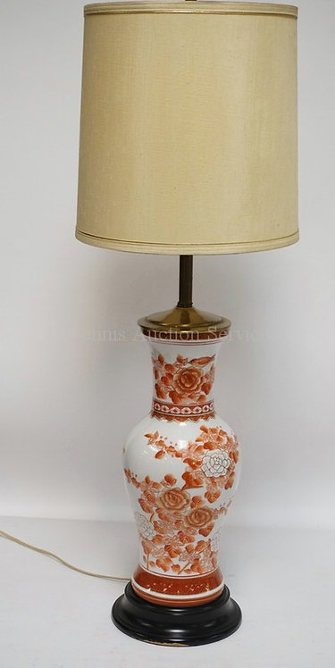 ASIAN PORCELAIN TABLE LAMP MEASURING 35 INCHES HIGH.