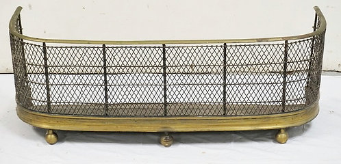 BRASS FIREPLACE FENDER WITH BALL FEET. 36 INCHES WIDE.
