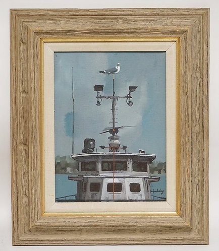 STANLEY M. ZUCKERBERG (1919-1995) OIL PAINTING ON CANVAS OF A SEAGULL PERCHED ON
