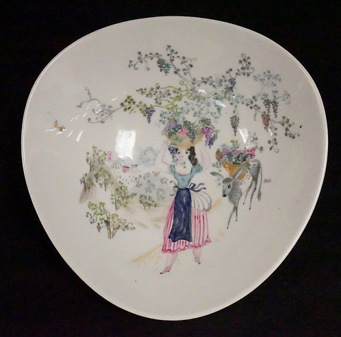 HAND PAINTED ROSENTHAL BOWL BY BELE BUCHEM. 10 INCHES WIDE.