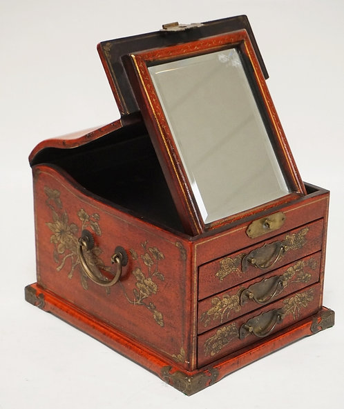 CHINOISERIE DECORATED ASIAN JEWELRY CHEST. 9 3/4 X 12 1/4 AND 8 1/4 INCHES HIGH.