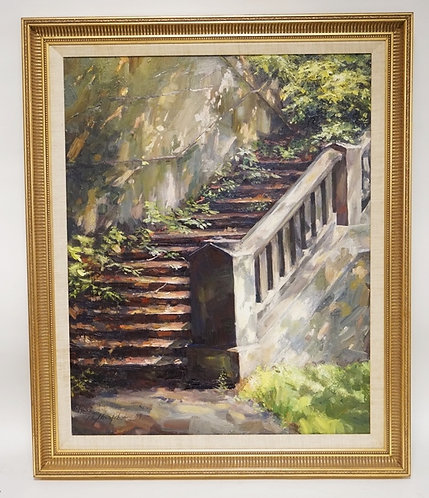 PHYLLIS JOHNSON OIL PAINTING ON CANVAS OF A VINE COVERED STAIRCASE. 23 1/4 X 29
