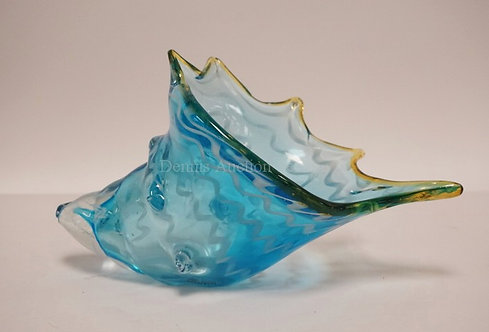 MURANO ART GLASS SHELL FORM VASE. 10 INCHES LONG. 5 1/2 INCHES HIGH.
