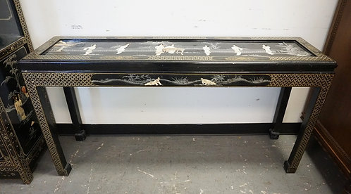 CHINOISERIE DECORATED CONSOLE TABLE. 54 IN X 14 IN, 28 IN H