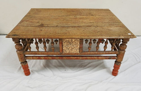 CARVED ASIAN TABLE WITH TURNED LEGS AND SKIRT. 39 X 27 1/2 INCH TOP. 19 INCHES H