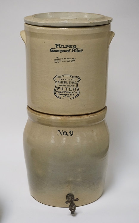 FULPER POTTERY STONEWARE ICE WATER COOLER WITH ORIGINAL TOP SECTION. 24 1/2 INCH
