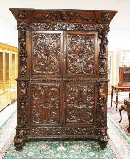 FRENCH RENAISSANCE CARVED OAK BUFFET DEUX CORPS WITH DEEP RELIEF CARVINGS INCLUD