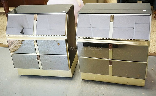 PAIR OF MIRRORED NIGHTSTANDS MEASURING 28 1/2 INCHES HIGH AND 24 1/2 INCHES WIDE