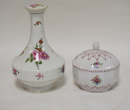 2 PIECES OF PORCELAIN. A LIMOGES BOTTLE WITH STOPPER AND A NYMPHENBURG COVERED J
