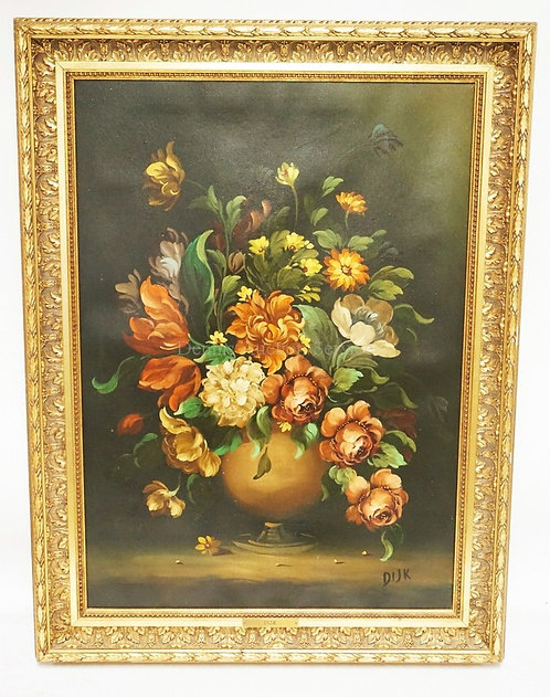 ARNADO DIJK (AUSTRIA. B.1908) OIL PAINTING ON CANVAS OF ASSORTED FLOWERS IN A VA