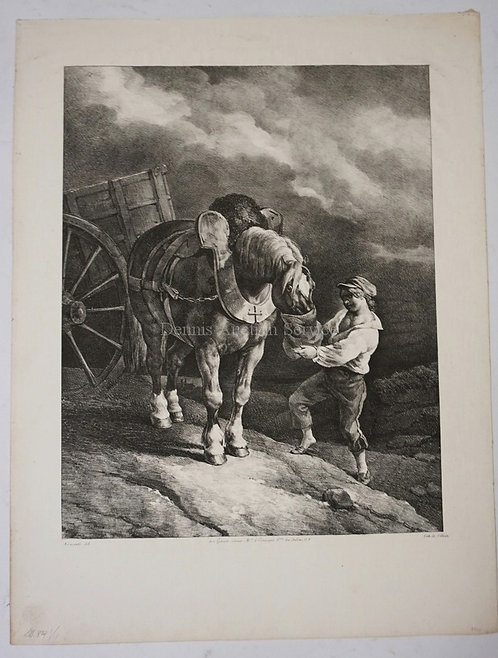 JEUNE GARCON CRAYON LITHOGRAPH WITH SCRAPING OF A BOY AND A HORSE. 1822. IMAGE O