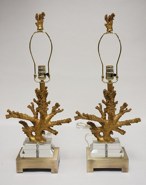 PAIR OF TABLE LAMPS IN THE FORM OF CORAL IN GOLD PAINT. 26 1/4 INCHES HIGH.