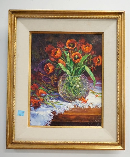 LEE ROMMEL OIL PAINTING ON CANVAS. A STILL LIFE TITLED *TULIPS*. 15 X 18 INCH ST