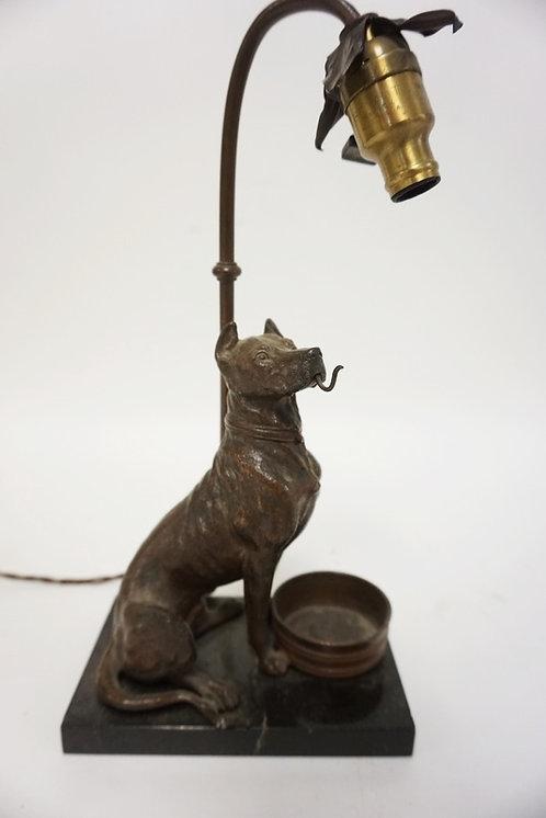 FIGURAL METAL DOG LAMP/POCKET WATCH HOLDER ON A BLACK MARBLE BASE. TIP OF THE TA