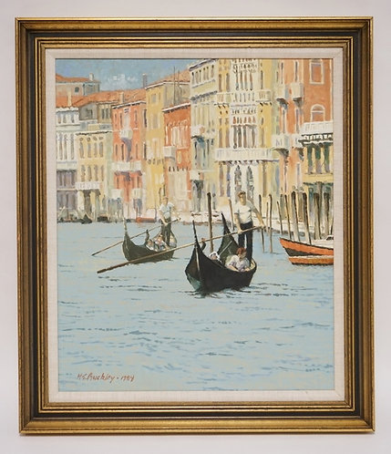 HARRY E. BUCKLEY OIL PAINTING ON BOARD TITLED *VENETIAN SCENE* AND DATED 1984. 1