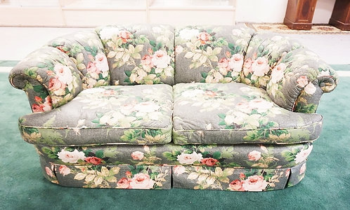 1029_KINDEL SOFA IN ROSE UPHOLSTERY. 27 INCHES HIGH. 64 INCHES WIDE.