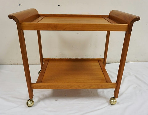 DANISH MODERN TEAK TEA CART WITH BASS CASTERS. 31 1/4 X 19 INCH TOP. 27 INCHES H