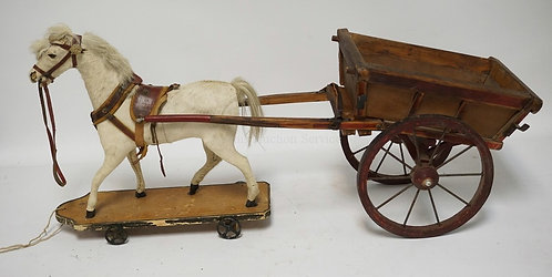 ANTIQUE HORSE AND CART PULL TOY. MADE WITH HIDE AND HORSE HAIR. HAS HAD SOME REP