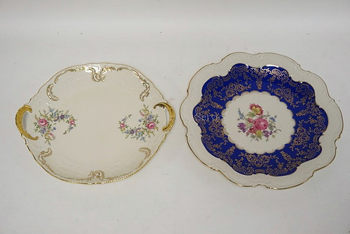 2 PORCELAIN PLATTERS. ROSENTHAL & BAVARIAN. LARGEST IS 12 1/2 INCHES.