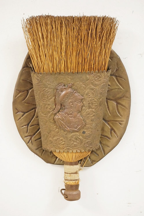 BRASS WALL HANGING WHISK BROOM HOLDER WITH BROOM.