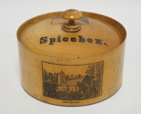 EUROPEAN WOODEN SPICE BOX SET WITH SCENES OF *LIGHTHOUSE DOUGLAS HEAD*, *TOWER O
