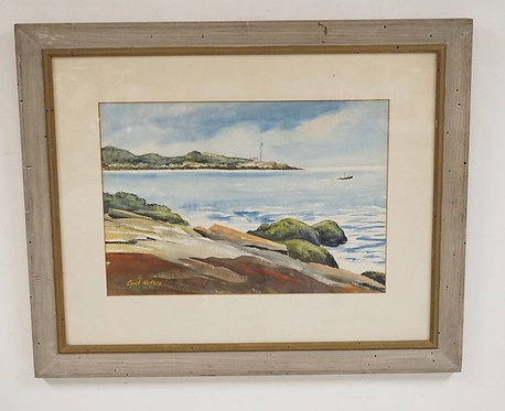 CYRIL NUTLEY WATERCOLOR PAINTING OF A SHORE SCENE WITH A LIGHTHOUSE IN THE DISTA