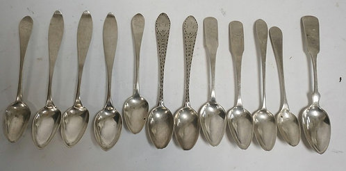 LOT OF 12 EARLY AMERICAN COIN SILVER SPOONS. 4.22 TROY OZ.